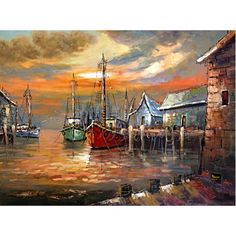 Boats near village Seascape Paintings, Landscape Paintings, Watercolor Lotus, Sailboat Painting, Boat Art, Pictures To Paint, Beautiful Paintings, American Art, Photo Art