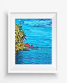 Hut on piles in the sea.,Tropical island landscape,Palm tree on beach,Summer print,digital prints,graffiti style ,jpeg, high…