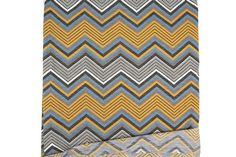 Heather Dark Mustard Black and Gray Chevron Print Knit Jersey