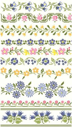 Vintage Floral Cross Stitch Borders Pattern by blackphoebedesigns