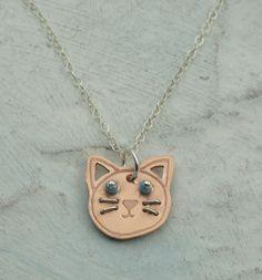 Collar del gatito - gato del collar del encanto de cobre por Kathryn Riechert