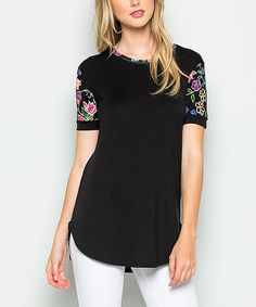 Another great find on #zulily! Black Floral-Sleeve Tee - Plus by Actingpro #zulilyfinds