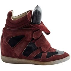 Pre-owned Isabel Marant Beckett Trainers ($193) ❤ liked on Polyvore featuring shoes, sneakers, burgundy, women shoes trainers, burgundy sneakers, round cap, suede sneakers, round toe sneakers and cushioned shoes