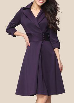 Pretty Purple Turndown Collar Dress