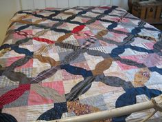 Wonderful old quilt top in a pattern called Whale Block. Besides the unusual pattern, this quilt top is unique in that there was a handwritten