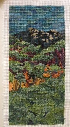 Embroidery ~ free form landscape Tent Stitch, Tactile Texture, Tall Tales, Blue Wool, Art Blog, Bohemian Rug, Cross Stitch, My Arts, Tapestry