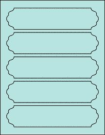 "Pastel Blue - Decorative Scalloped Edge Labels On Sheets  7.5"" x 1.75"" print from a laser or inkjet printer."