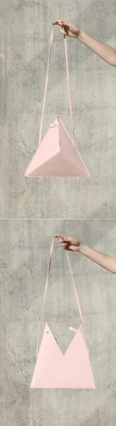 Triangle Bag by IF irinaflorea   minimalist   leather   rose quartz   https://www.facebook.com/irinafloreadesign/