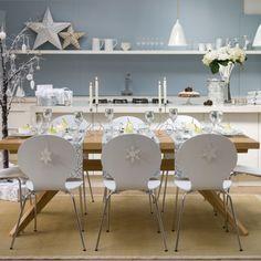 weiße weihnachtsdeko ideen esszimmer silbern skandinavisch