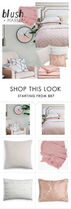 """Blush and Marble Bedroom"" by medgurl ❤ liked on Polyvore featuring interior, interiors, interior design, home, home decor, interior decorating, Vera Wang, bedroom, homedecor and blushmarble"