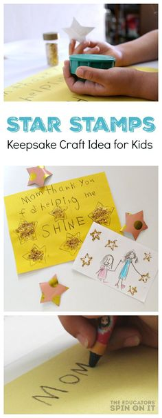 DIY Star Stamps.  A fun kids art idea for someone that helps your child SHINE.  Perfect for Mother's Day or Teacher Appreciation Day or just a sweet thank you card.  Click now to learn how to easily make with your child.