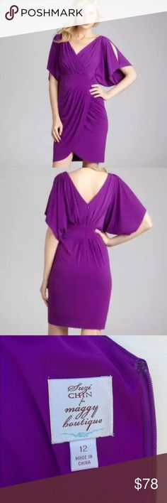 """Suzi Chin Dolman Batwing Sleeve Jersey Tulip Dress Suzi Chin Maggy Boutique Split Batwing Jersey Purple Dress in Size 12. Slits atop voluminous batwing sleeves add fluttery movement to a draped faux-wrap dress with a tulip skirt & figure-cinching waistband. Lightweight stretch jersey with v-neckline. Pleated ultra flattering bodice. Split boxy batwing sleeve. Banded waist. Wrap front pleated skirt. Concealed rear zip. Lined. 95% Polyester, 5% Elastane. Length39"""" Bust42"""" Waist34"""" Hip42""""…"""
