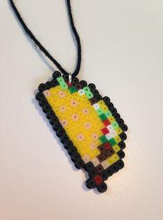 Taco hama bead charm by PlasticSkillet