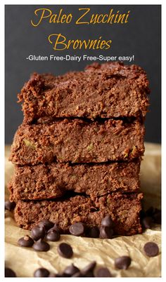 Paleo Zucchini Brownies- no oil or butter, naturally sweetened, and easy to make! Gluten free, dairy free, refined sugar free.