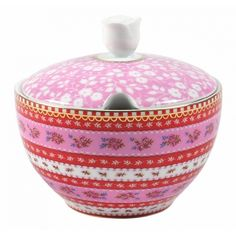 Red and pink sugar bowl with floral patterns by Pip Studio. Casual for everyday use but beautiful enough for entertaining. Pip Studio, Pink Sugar, Sugar Sugar, Everything Pink, Milk Jug, Pink Roses, Tea Pots, Alice, Dishes