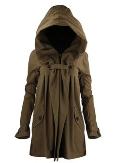 gathered hoodie coat