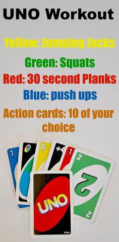 UNO workout. It's like playing a game! Fun to do and perfect to do with the…