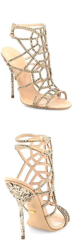 Sergio Rossi Crystal & Suede Puzzle Sandals