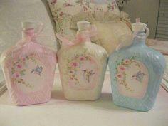 Liquor Bottle Crafts, Wine Bottle Art, Diy Bottle, Liquor Bottles, Bottles And Jars, Glass Bottles, Shabby Chic Jars, Shabby Chic Crafts, Crown Royal Bottle