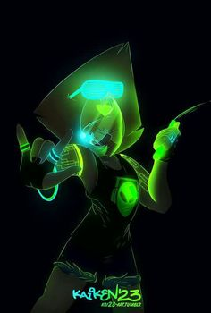 Remembers of 's cool art and about the fact that I love drawing with glow colors I found those cool glowing tattoos and I couldn't resist to not give Peridot one. Steven Universe Peridot, Lapis And Peridot, Pearl Steven, Happy Fun, Super Happy, Cartoon Tv Shows, Fandom Crossover, Lapidot, Star Children