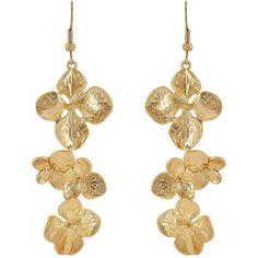Kenneth Jay Lane Women's Flower Triple-Drop Earrings ($39) ❤ liked on Polyvore featuring jewelry, earrings, gold, dangle earrings, kenneth jay lane, drop dangle earrings, flower jewelry and dangling jewelry