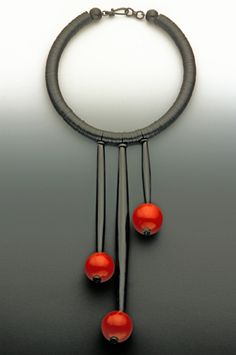 Necklace |  Sharon Rosenthal Design.  Buffalo Horn and Uncarved Cinnabar