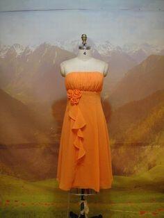 Arancione Abito da Sera Corto Senza Spalline Fiori Decorati ACM097 [ACM097] - €113.00 :