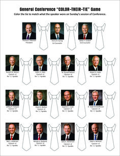 2017 General Conference Color-their-tie handout with updated apostles.