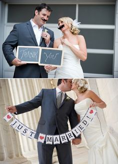 use props in the bride and groom photos - too cute