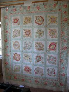 french rose quilt with sashing