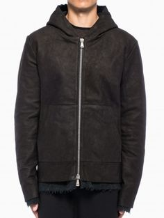 Leather hoodie jacket from the F/W2013-14 10sei0otto collection in black.