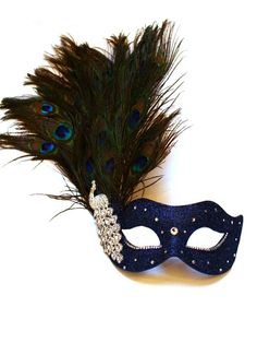 Monsoon Navy Blue & Silver Peacock Crystal Venetian Masquerade Mask