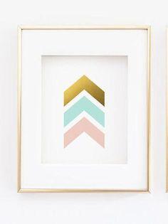 Chevron Arrows Print - Pink and Mint Gold Wall Print - Abstract Wall Art - Printed Gold Foil - Livingroom Decor - Nursery Decor