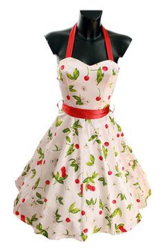 White Cherry Dress 1950's Style