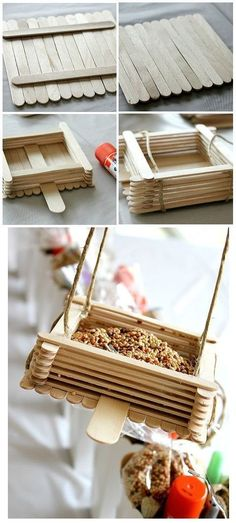Super Simple DIY Bird Feeders For Spring! Lolly Pop Stick DIY Bird Feeder - A really quick and easy DIY project idea! Perfect crafts idea for kids.Lolly Pop Stick DIY Bird Feeder - A really quick and easy DIY project idea! Perfect crafts idea for kids. Easy Diy Projects, Projects For Kids, Diy For Kids, Craft Projects, Craft Ideas, Diy Ideas, Project Ideas, Knitting Projects, Decor Ideas
