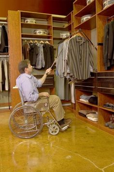 These retractable clothing racks make it more accessible for someone with a disability.