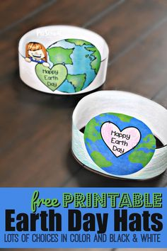 FREE Printable Earth Day Hats - super cute earth day activity for toddler, preschool, and kindergarten age kids! Makes a cute Earth Day Craft.