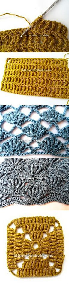 Knitting: Crochet patterns with twisted columns Crochet Stitches For Beginners, Crochet Stitches Patterns, Crochet Videos, Knitting Stitches, Crochet Designs, Crochet Cable, Knit Or Crochet, Crochet Motif, Irish Crochet