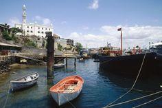 Der Dhow-Hafen von Mombasa in Kenia.