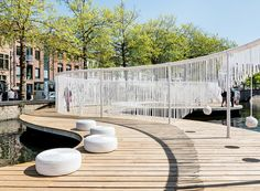 pavilion with playful swings and hammocks floats in a bruges canal by OBBA and dertien 12 Landscape Model, Landscape Plans, Urban Landscape, Landscape Design, Landscape Steps, Park Landscape, Landscaping Las Vegas, Landscaping Work, Landscaping Supplies