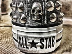 659b18dcccaf CONVERSE SHOES AND EASTPAK BACK-BAGS CUSTOMISED WITH STUDS AND SKULLS -
