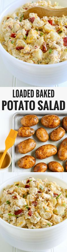 This loaded baked potato salad is the perfect side dish for potlucks, BBQs, camping trips, and of July celebrations. This restaurant-style favorite is ideal for feeding a hungry crowd. PIN NOW FO(Favorite Pins Restaurant Recipes) Potato Dishes, Food Dishes, Salad Dishes, Potato Recipes, Loaded Baked Potato Salad, Loaded Potato, Potluck Side Dishes, Cooking Recipes, Healthy Recipes