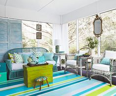 Stripes Underfoot: Turn a scrap of vinyl flooring into a colorful rug for an outdoor space. Flip the piece upside down and paint the backside in a colorful pattern that suits your tastes. Be sure to use paint formulated for exterior applications.