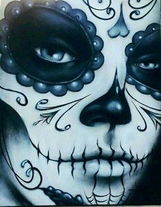 nice close up Day Of The Dead Artwork, Day Of The Dead Mask, Day Of The Dead Girl, Day Of The Dead Skull, Sugar Skull Girl, Sugar Skull Makeup, Sugar Skulls, Skull Girl Tattoo, Sugar Skull Tattoos