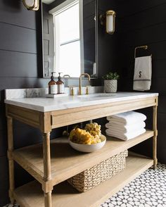 Here's a beautiful bath featuring black shiplap and our Atlas II pattern