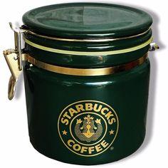 """Starbucks Coffee 6"""" Canister Bee House Japan Green Gold Mermaid Siren Logo 2006 #Starbucks"""