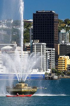 Fountain at Oriental Bay, Wellington, New Zealand. We love to sit and sip coffee and watch the fountain.