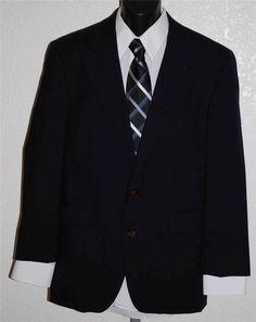Chaps Ralph Lauren Blazer Black Wool Size 40 R 2 Button Notched Lapel #Chaps #TwoButton