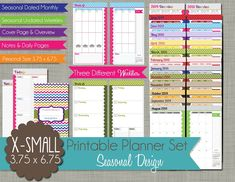 2015 Printable Planner - Seasonal Design - Calendar Year - Sized X-Small (personal size) x PDF Daily Calendar Template, Small Planner, Printable Planner Pages, Free Printables, Day Planners, Filofax, Diy Crafts To Sell, Things To Sell, Vintage