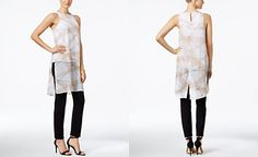 Alfani PRIMA Printed Chiffon-Overlay Top & Pull-On Skinny Ankle Pants, Only at Macy's